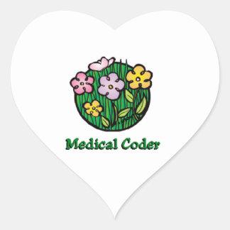 Medical Coder Blooms Heart Sticker