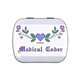 Medical Coder Blue Cross Stitch Print Jelly Belly Tins