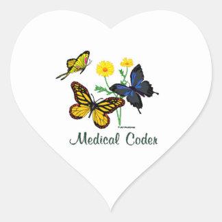 Medical Coder Butterflies Heart Sticker