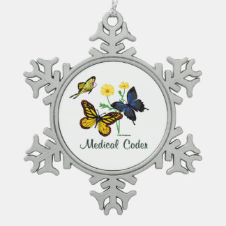 Medical Coder Butterflies Snowflake Pewter Christmas Ornament