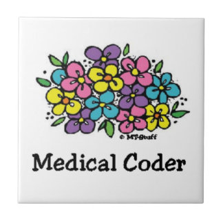 Medical Coder Coaster Blooms Small Square Tile