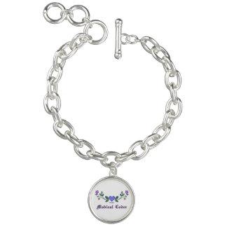 Medical Coder Cross Stitch Print Charm Bracelets
