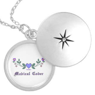 Medical Coder Cross Stitch Print Silver Plated Necklace