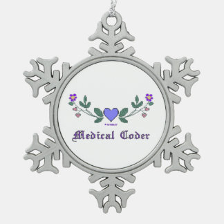Medical Coder Cross Stitch Print Snowflake Pewter Christmas Ornament