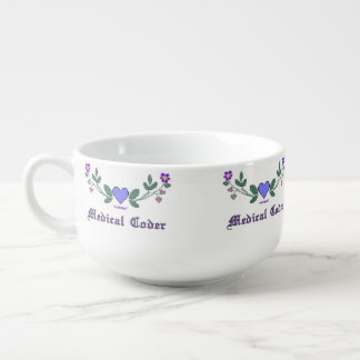 Medical Coder Cross Stitch Print Soup Bowl With Handle
