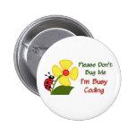 Medical Coder Ladybug Buttons