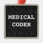 Medical Coder Medical Terminology Christmas Square Metal Christmas Ornament