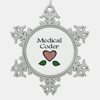 Medical Coder Red GH Snowflake Pewter Christmas Ornament