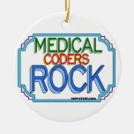 Medical Coders Rock Double-Sided Ceramic Round Christmas Ornament