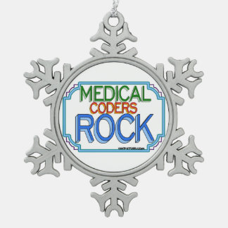 Medical Coders Rock Snowflake Pewter Christmas Ornament