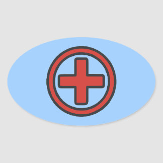 Medical Cross in Red Oval Sticker