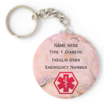 Medical Diabetic Alert Personalized Type 1 or 2 Keychain