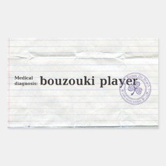 Medical diagnosis: bouzouki player rectangular sticker