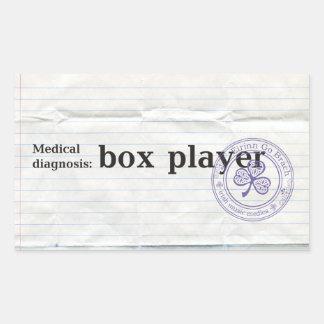 Medical diagnosis: box player rectangular sticker