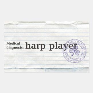 Medical diagnosis:harp player rectangular sticker