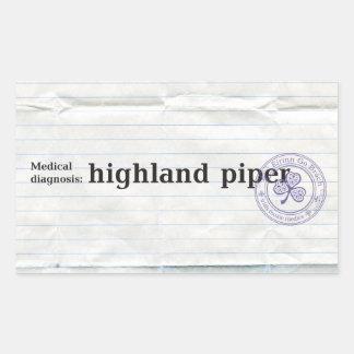 Medical diagnosis: Highland piper Rectangular Sticker