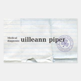 Medical diagnosis: Uilleann piper Rectangular Sticker