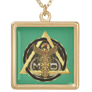 Medical Doctor Logo Square Only VIEW ABOUT Design Gold Plated Necklace