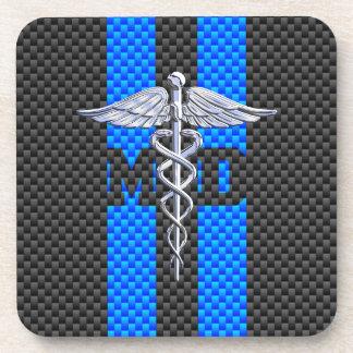Medical Doctor MD Caduceus Carbon Fiber Stripes Drink Coaster
