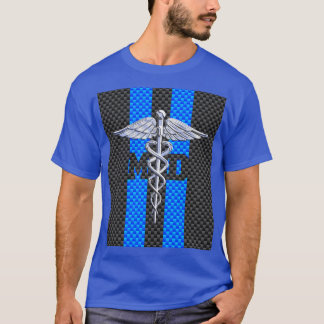 Medical Doctor MD Caduceus Carbon Fiber Stripes T-Shirt
