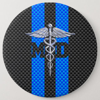 Medical Doctor MD Caduceus on Carbon Fiber Decor Button
