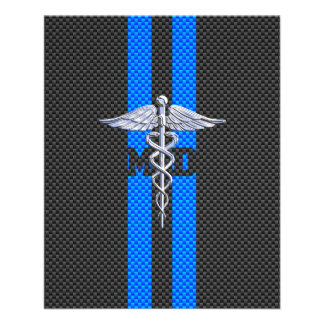 Medical Doctor MD Caduceus on Carbon Fiber Print Flyer