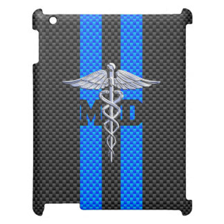 Medical Doctor MD Caduceus on Carbon Fiber Print iPad Covers