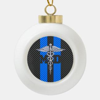 Medical Doctor MD Caduceus on Carbon Fiber Style Ceramic Ball Christmas Ornament