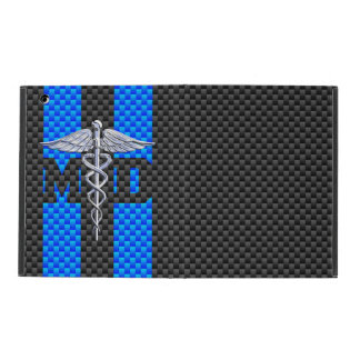 Medical Doctor MD Caduceus on Carbon Fiber Style iPad Cases