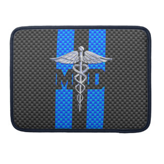 Medical Doctor MD Caduceus on Vibrant Stripes MacBook Pro Sleeve