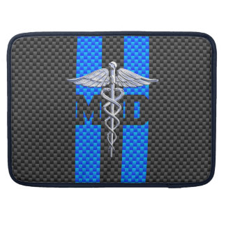 Medical Doctor MD Caduceus on Vibrant Stripes Sleeves For MacBook Pro