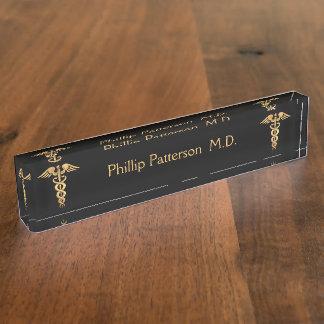 Medical Doctor or Nurse Black and Gold Nameplate