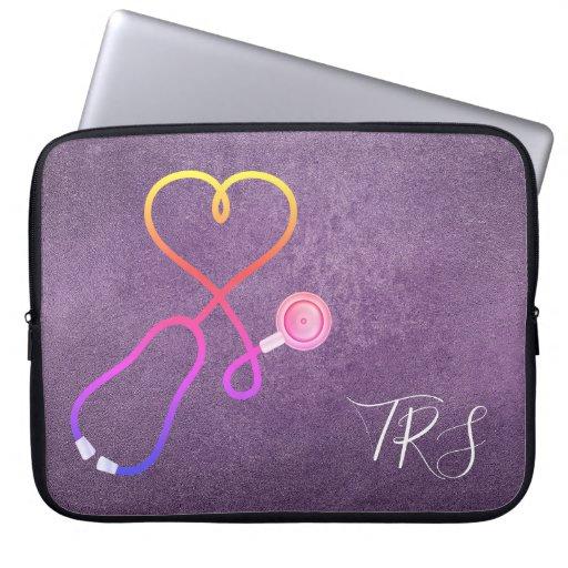 Medical Doctor or Nurse Purple Glitter Laptop Sleeve