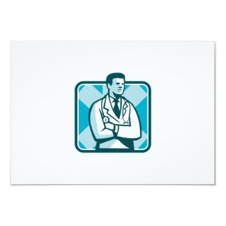 Medical Doctor Physician Stethoscope Standing Retr 3.5x5 Paper Invitation Card