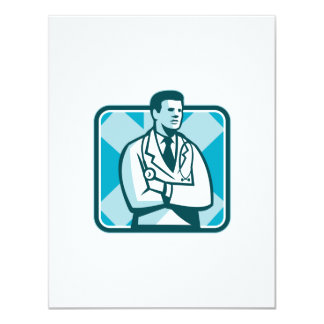 Medical Doctor Physician Stethoscope Standing Retr 4.25x5.5 Paper Invitation Card