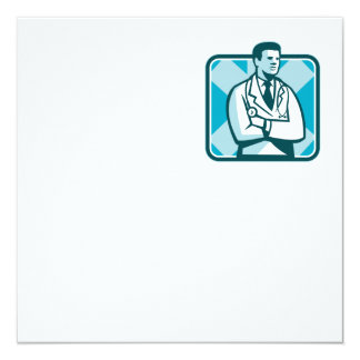 Medical Doctor Physician Stethoscope Standing Retr Invitation