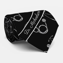 Medical Doctor Stethoscope Pattern Physician Name Neck Tie