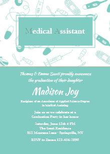 Medical assistant invitations zazzle medical elements graduation invitation filmwisefo