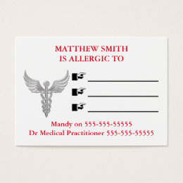 Medical emergency contact numbers business card