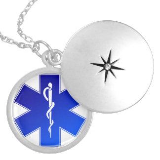 Medical EMS Symbol Round Locket Necklace