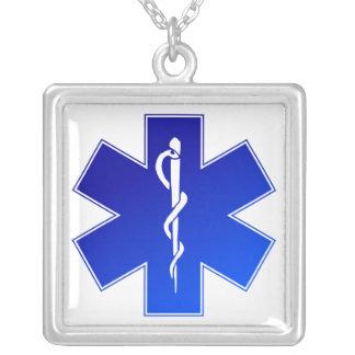 Medical EMS Symbol Square Pendant Necklace