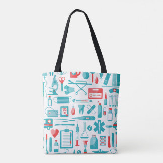 Medical Equipment in Teal and Red Tote Bag