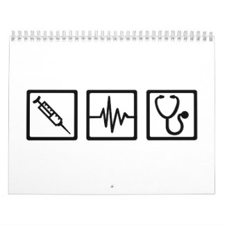 Medical equipment stethoscope syringe calendar