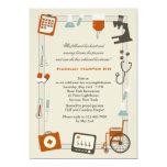 "Medical Frame Nursing School Graduation Invitation 5"" X 7"" Invitation Card"