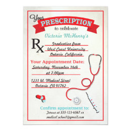 Medical Graduation Prescription Pad Invitation