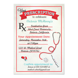 Doctorate graduation invitations announcements zazzle medical graduation prescription pad invitation filmwisefo Images