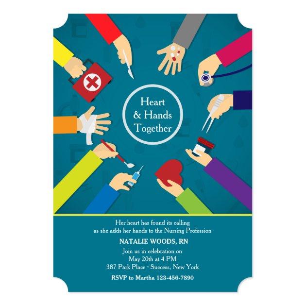 Medical Hands Graduation Invitation