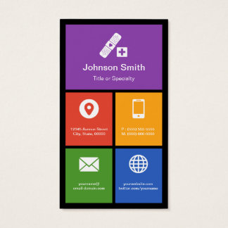 Medical Health Care - Colorful Tiles Creative Business Card