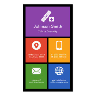 Medical Health Care - Colorful Tiles Creative Double-Sided Standard Business Cards (Pack Of 100)