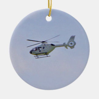 Medical Helicopter Double-Sided Ceramic Round Christmas Ornament